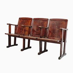 Vintage French Theater Bench, 1920s
