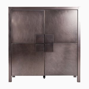 French Brushed Steel 4-Door Cabinet from Maison Jansen, 1980s