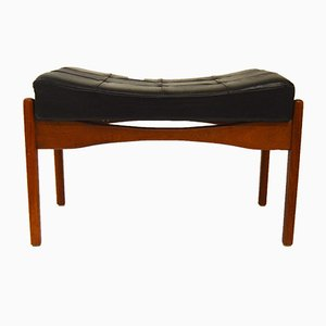 Teak & Leather Siesta Footstool by Ib Kofod Larsen for OPE, 1960s
