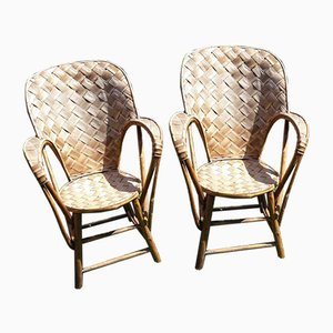 Bentwood and Woven Chestnut Armchairs, Set of 2