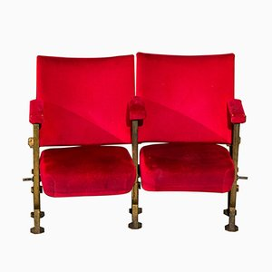 Vintage Two-Seater Stall Theatre Chair