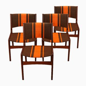 Teak Chairs with Orange Striped Upholstery, 1960s, Set of 4