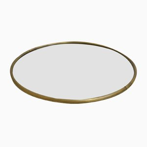French Round Mirror with Brass Frame, 1960s