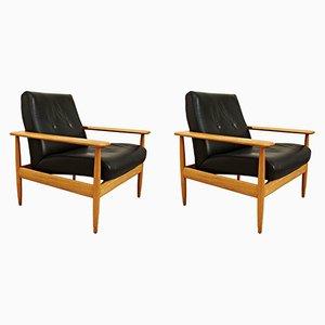 Schwarzer Leder Sessel, 1950er, 2er Set