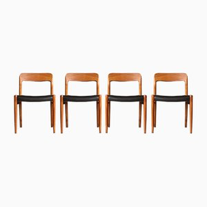 Model 75 Dining Chairs by Niels O. Møller for J. L. Møllers, 1960s, Set of 4