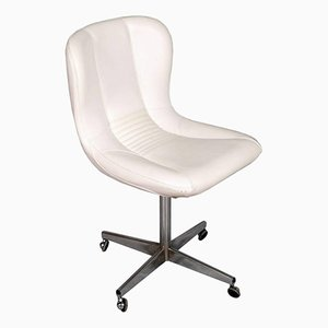 Vintage Revolving Easy Chair in Chromed Steel & White Leather