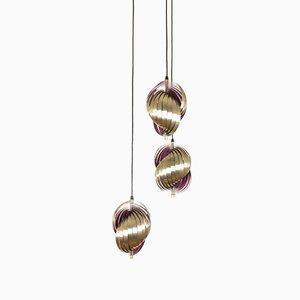 Lámpara colgante de metal morado de Henri Mathieu, años 70