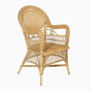 French Provençal Curved Bamboo & Rattan Armchair, 1950s