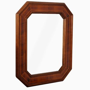 Mid-Century Mirror with Octagonal Frame in Walnut