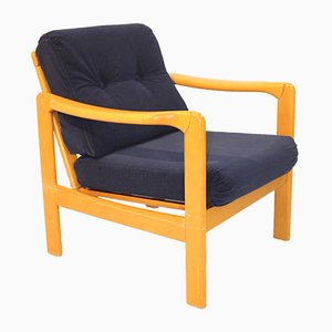Scandinavian Armchair in Navy Blue Velvet Fabric, 1960s
