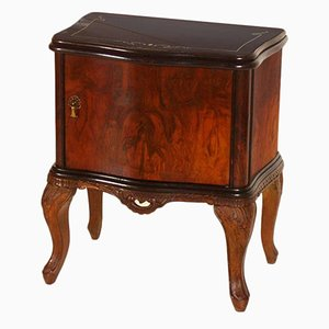Vintage Venetian Nightstand in Hand-Carved Walnut and Burl