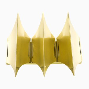 Sculptural Brass Gothic III Wall Lamp from Lyfa, 1960s