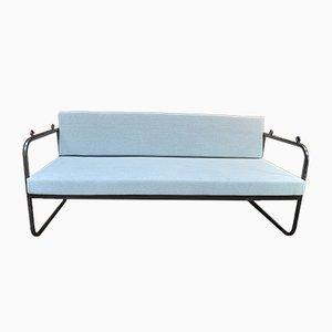 Banco de jardín o sofá cama de metal, años 20