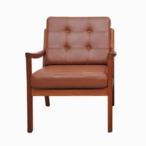 Vintage Teak & Leather Lounge Chair by Ole Wanscher for Cado