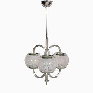 Lampadario modernista in vetro e metallo cromato di Carlo Nason