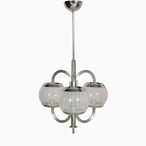 Modernist Glass & Chromed Metal Chandelier by Carlo Nason