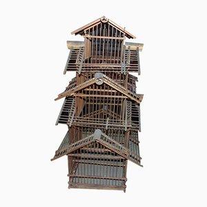 Jaula para pájaros Art Déco de madera