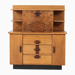 Art Deco Haagse School Secretaire by P.E.L. Izeren for De Genneper Molen, 1920s