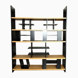 Black Lacquered Modular Shelving Unit with Walnut Shelves by Luigi Sormani, 1985