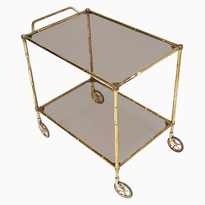 Art Deco Bar Cart in Bamboo Brass and Smoked Glass, 1940s