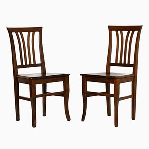 Art Deco Chairs in Solid Walnut from Asolo, 1940s, Set of 2