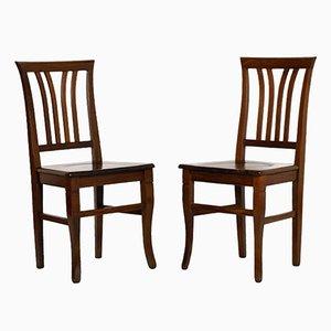 Art Deco Stühle aus massivem Walnuss von Asolo, 1940er, 2er Set