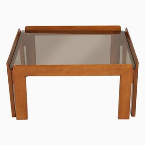 Italian Mid-Century Coffee Table with Smoked Glass Top by Tobia & Afra Scarpa