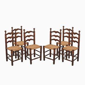 Sedie vintage in legno di noce con sedute in paglia, set di 6