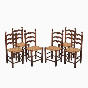 Vintage Walnut Chairs with Straw Seats, Set of 6