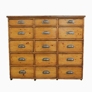 Antique English Industrial Pine Factory Drawers, 1890s