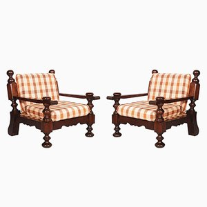 Mid-Century Italian Armchairs in Solid Durmast, Set of 2