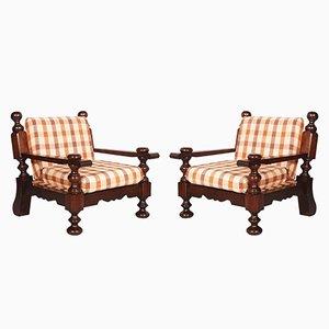 Mid-Century Italian Armchairs in Solid Durmast, Set of 2