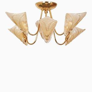 Lampadario Mid-Century a 6 luci in vetro di Murano di Carlo Nason per Mazzega