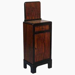 Art Deco Walnut Nightstand with Drawer & Marble Top, 1940s