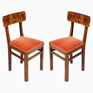 Art Deco Nussholz Stühle, 2er Set
