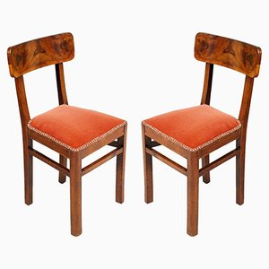 Art Deco Walnut Chairs, Set of 2