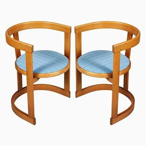 Italian Mid-Century Barrel Armchairs, Set of 2