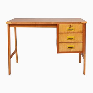 Mid-Century Modern Desk in Beech, Maple, and Mahogany