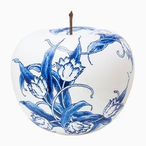 Apfel mit handgemalter Tulpe in limitierter Auflage von Sabine Struycken für Royal Delft