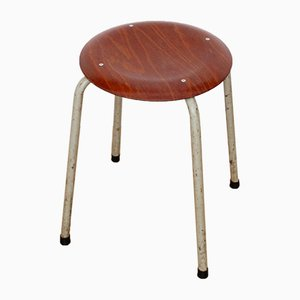 Vintage Stool with Tubular Steel Frame and Teak Veneer Seat