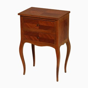 Vintage Italian Walnut & Maple Nightstand, 1940s