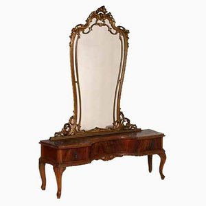 Venetian Hand-Carved Walnut Dressing Table, 1930s