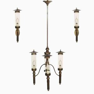 Art Deco Chandelier and Two Sconces