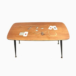 Coffee Table with Card Game Decor, 1950s