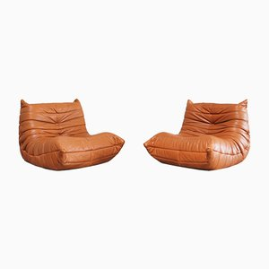 Togo Chairs aus cognacfarbenem Leder von Michel Ducaroy für Ligne Roset, 1980er, 2er Set