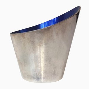 Vase Concave Moderniste en Argent Plaqué et Email par DGS pour Ronson, 1950s
