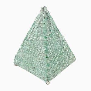 Lampada da tavolo Mid-Century a forma di piramide in vetro, anni '70