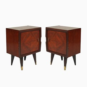 Vintage Walnut & Mahogany Nightstands, Set of 2