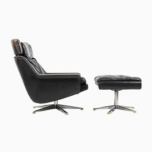 Model 802 Leather Swivel Lounge Chair with Ottoman by Werner Langenfeld for ESA, 1970s