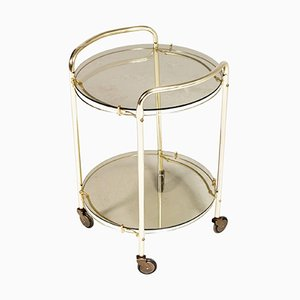 Mid-Century Italian Brass & Smoked Crystal Bar Cart